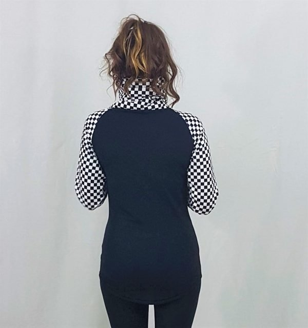 Black and White Checkerboard Base Layer Top Back